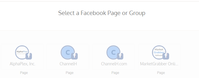 Select a Facebook Page or Group