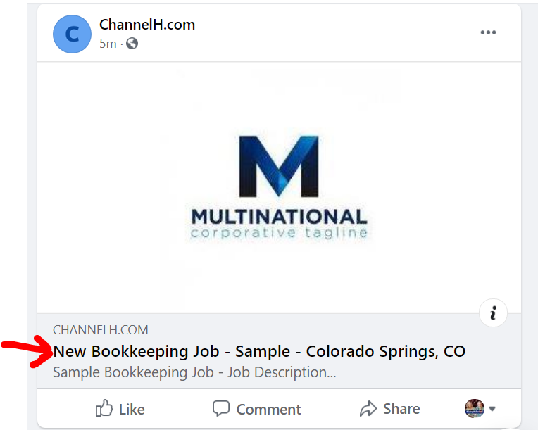 ChannelH.com  5m • O  MULTINATIONAL  corporative tag I Ine  CHANNELH.COM  New Bookkeeping Job - Sample - Colorado Springs, CO  Sample Bookkeeping Job - Job Description...  O Like  C) Comment  Share