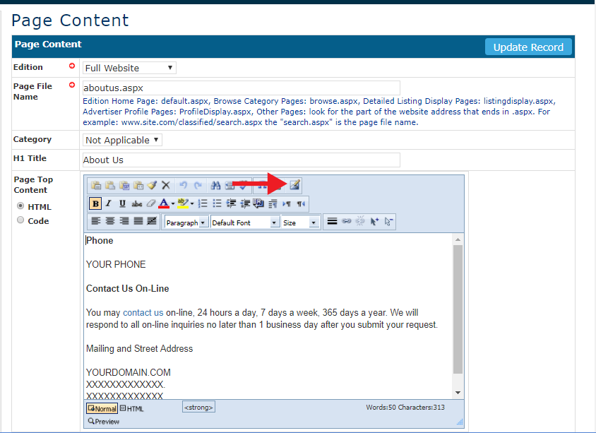 Add links and images to site pages using the HTML text editor